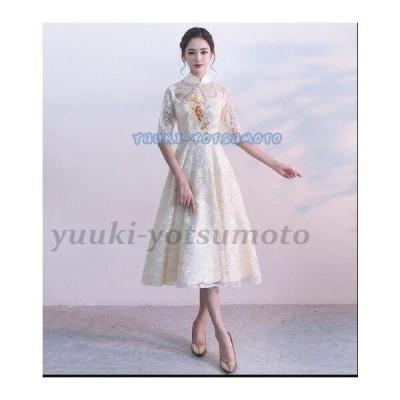 20代30代40代 ウェディングドレス 結婚式 花嫁 二次会 刺繍 可愛い レディース おしゃれ フォーマル ミドル丈ワンピース お呼ばれ 韓国風 パーティードレス