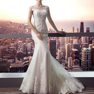 【XS/S/M/L/XL/2XL】マーメイドドレス プ ウェディングドレス ロングドレス マーメイドライン ウエディングドレス 締め上げタイプ  184