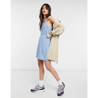 エイソス ミニドレス レディース ASOS DESIGN soft denim aline mini dress in midwash エイソス ASOS ブルー 青