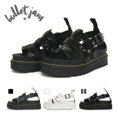 BULLET JAM厚底グラディエーターサンダル 靴 レディース フラットヒール ベルト カジュアル シンプル 人気