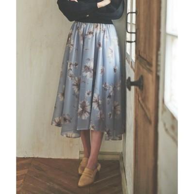 スカート 水彩花柄イレヘムスカート