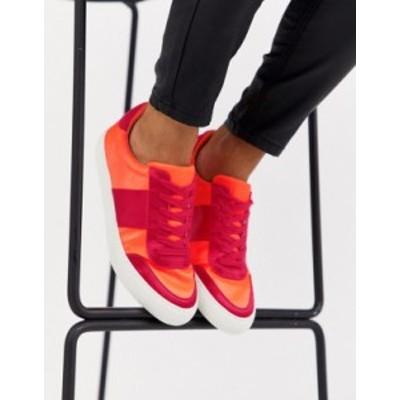 エイソス レディース スニーカー シューズ ASOS DESIGN Dime lace up sneakers in fluoro mix Fluoro mix