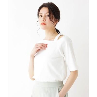 tシャツ Tシャツ アシメネックカットプルオーバー