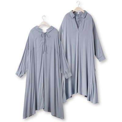 大きいサイズ バックレースアップシャツワンピース ,スマイルランド, ワンピース, plus size dress