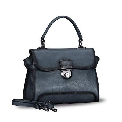 (新品) Genuine Leather Crossbody Bags for Women Handmade Vintage Top Handle Handbags Purses (Darkgrey)