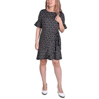 ニューヨークコレクション レディース ワンピース トップス Petite Belted Bell-Sleeve Dress