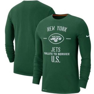 ナイキ メンズ Tシャツ トップス New York Jets Nike 2019 Salute to Service Sideline Performance Long Sleeve Shirt Green