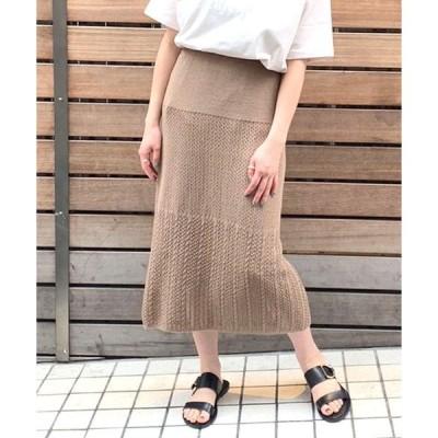 スカート 透かし柄ニットスカート