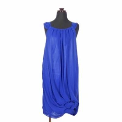【中古】ビアズリー BEARDSLEY ガリャルダガランテ ノースリーブ ワンピース ドレス フラワーモチーフ F ネイビー 紺