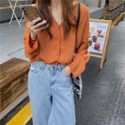 シフォンシャツ カジュアル 大人可愛い 長袖 シンプル 4color