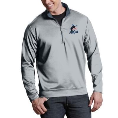 マイアミ・マーリンズ Antigua Leader Quarter-Zip Pullover ジャケット - Silver
