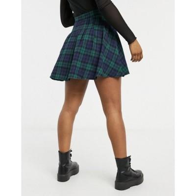 デイジーストリート レディース スカート ボトムス Daisy Street mini pleated skirt in tartan Green plaid