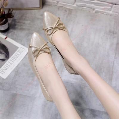 ポインテッドトゥ ローヒール パンプス 痛くない 履きやすい リボン レディース フラットシューズ ペタンコパンプス 金 銀 歩きやすい 靴 バレエシューズ