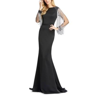 マックダガル ワンピース トップス レディース Long-Sleeve Embellished Gown Black