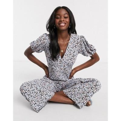 ミスセルフフリッジ レディース ワンピース トップス Miss Selfridge wide leg jumpsuit in black floral
