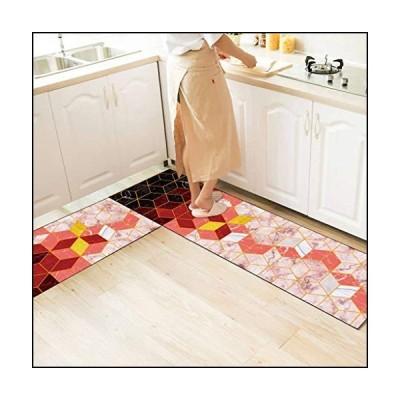 Anti Fatigue Kitchen Rug Sets,2 Piece Floor Mats Comfort PVC Leather Heavy Duty Non Slip Waterproof Cushioned Standing Mat Runner Rugs Doorm