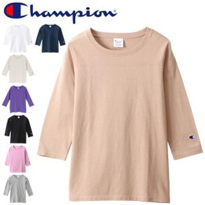 Tシャツ 7分袖 レディース/チャンピオン Champion BASIC フットボールTEE 3/4スリーブ クルーネック コットン 無地 カジュアル シンプル