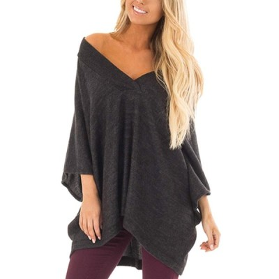 Auxo Women's 3/4 Batwing Sleeve Tops V Neck Off The Shoulder Casual Bl