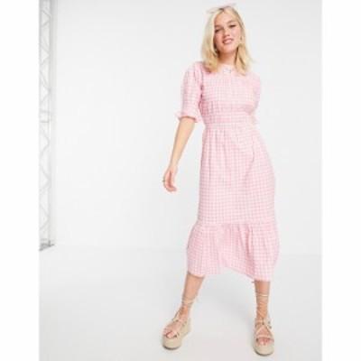 インフルエンス Influence レディース ワンピース ミドル丈 ワンピース・ドレス Midi Dress In Pink Gingham ピンク/ホワイト