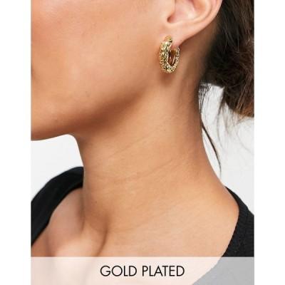 エイソス レディース ピアス&イヤリング アクセサリー ASOS DESIGN 14k gold plated hinge hoop earrings in carved texture Gold