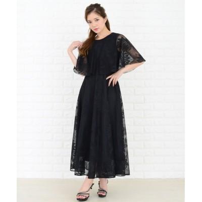 ドレス リーフ柄シアーレースケープ風トップフレアワンピース・ドレス