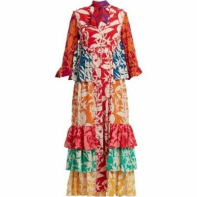 ノア ド ボルゴ Borgo De Nor レディース ワンピース ワンピース・ドレス Aude floral-print ruffle silk dress Red