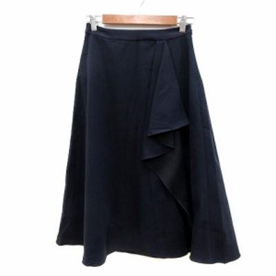 【中古】ルージュヴィフ Rouge vif フレアスカート ミモレ ロング フリル 36 紺 ネイビー /MN レディース