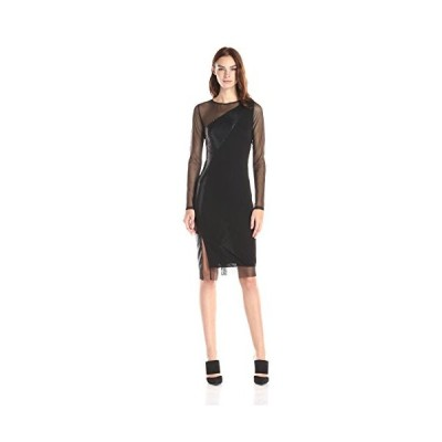 BCBGMax Azria レディース Blaine ロング スリーブ カラー ブロック ドレス, ブラック コンボ, スモール(海外取寄せ品)