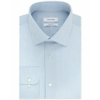 Calvin Klein カルバンクライン ファッション ドレス Calvin Klein Mens Blue Size 18 1/2 Striped Regular Fit Dress Shirt