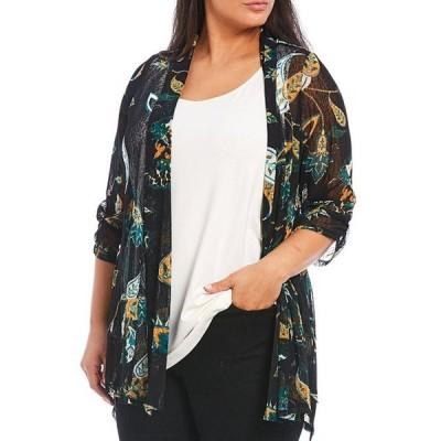アリ マイルス レディース ジャケット・ブルゾン アウター Plus Size Floral Print Shawl Collar Cinched Sleeve Onion Skin Open Front Jacket