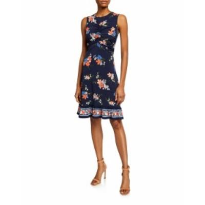 マイケルコース レディース ワンピース トップス Bloom Ruched-Bodice Sleeveless Mini Dress ORANGE PATTERN