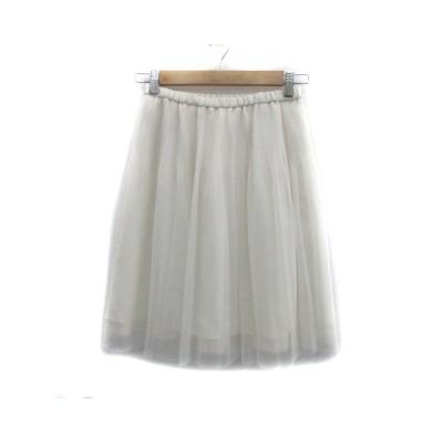 【中古】インディヴィ INDIVI スカート チュール ひざ丈 無地 38 白 ホワイト /YS14 レディース 【ベクトル 古着】