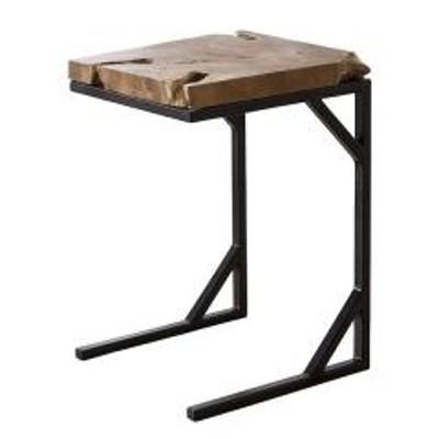 サイドテーブル スチールフレーム (  テーブル ソファサイド コーヒーテーブル ベッドサイド スチール 天然木 チーク材 無垢材 )