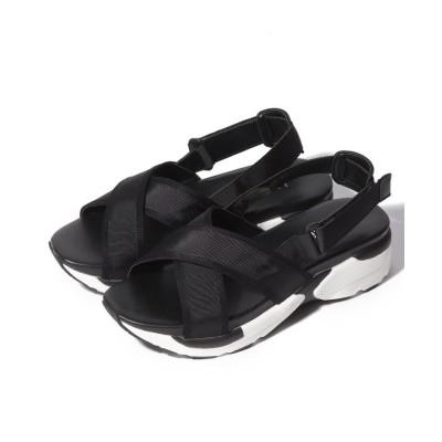 【セヴン・トゥエルヴ・サーティ】 グログランスポーツサンダル レディース ブラック S (22.5cm) SEVEN TWELVE THIRTY