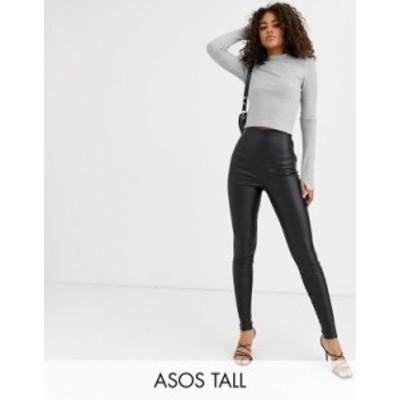 エイソス レディース カジュアルパンツ ボトムス ASOS DESIGN Tall spray on leather look pants Black
