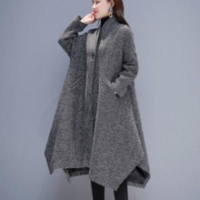 ポンチョ コート レディース アウター 体型カバー ウール ロング丈 ゆったり きれいめ こなれ感 秋冬 お出かけ トレンド 暖かい ブラック