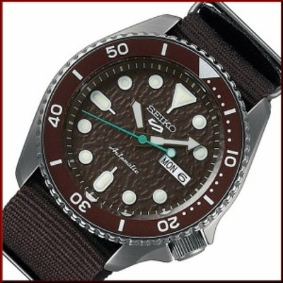 SEIKO5 Sports【セイコー5スポーツ/ファイブスポーツ】ブラウンナイロンべルト ブラウン文字盤 自動巻 メンズ腕時計 海外モデル SRPD85K