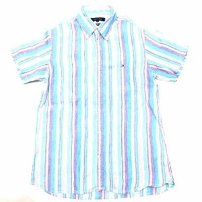 【中古】トミーヒルフィガー TOMMY HILFIGER シャツ リネン ストライプ 半袖 ボタンダウン 刺繍 ロゴ 水色系 L メンズ