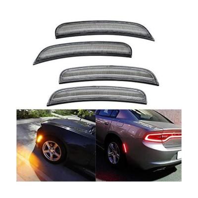 【並行輸入品】Amber Red LED Side Marker Light for Dodge Charger 2015 2016 2017 2018 2019 2020 Clear Lens Led Side Marker Lights Front