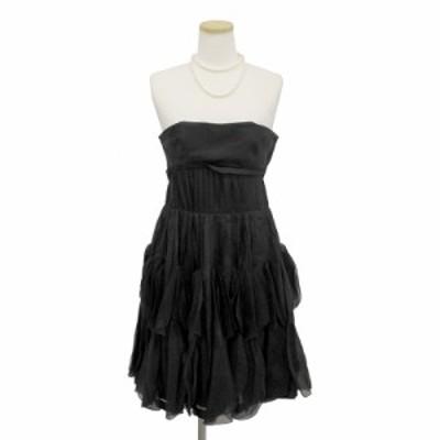 (中古)ジルスチュアート シルク ベアトップドレス ワンピース #0 ブラック