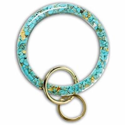Mymazn Bangle Key Ring Bracelet for Women Bracelet Key Wristlet (Turquoise)