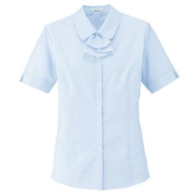 ボンマックス BONMAX Rizal 半袖ブラウス RB4549-6 ブルー (5〜19号) 吸水・速乾 UVカット オフィスウェア 事務服 企業服 通勤服