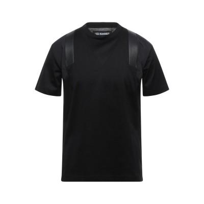 LES HOMMES T シャツ ブラック S コットン 100% / ポリエステル / 革 T シャツ