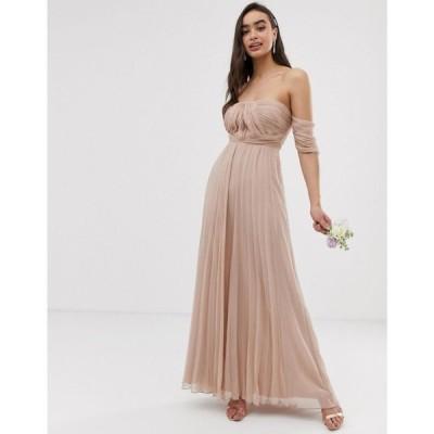 エイソス ASOS DESIGN レディース ワンピース ワンピース・ドレス Bridesmaid bardot ruched pleated maxi dress Soft blush