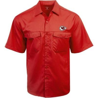 アンティグア シャツ トップス メンズ Antigua Men's Kansas City Chiefs Game Day Woven Fishing Shirt Bright Red