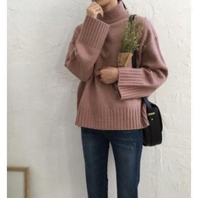 韓国 ファッション レディース ニット セーター トップス ハイネック 長袖 秋冬 ゆったり 無地 カジュアル シンプル 大人可愛い