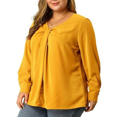 レディース 衣類 トップス Women's Plus Size Twist Knot Long Sleeve V Neck Top Yellow(Size 1X) ブラウス&シャツ