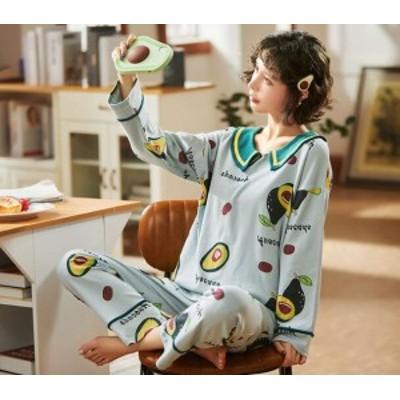ルームウェア 部屋着 パジャマ 上下セット レディース ナイティ ルームウエア 春 秋 シンプル ルーズ 学生 可愛い パジャマ