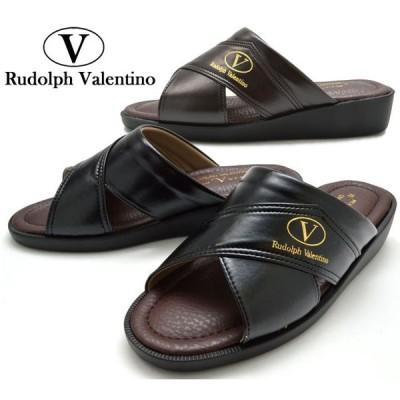RUDOLPH VALENTINO 2832 メンズサンダル ヘップ メンズ 紳士 日本製 3E 幅広 ブラック ダークブラウン 黒 濃茶 靴