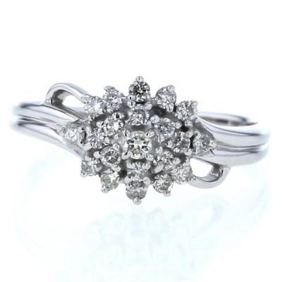 K14WG ホワイトゴールド リング ダイヤモンド 0.33ct ウェーブ フラワー 花 デザイン 指輪 13号【新品仕上済】【el】【中古】